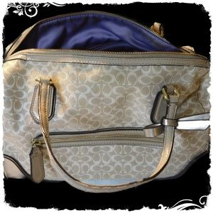 Coach Handbag Light Beige With Gold Tone Stitching